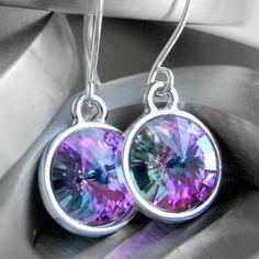 Swarovski Crystal Earrings Purple Pink Green by GreenRibbonGems, $24.00