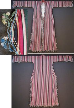 Striped silk 'üçetek' (robe with three panels).  From the Aegean region, ca. 1925-1950.  White cotton lining.  Edged with an 'oya' (Turkish lace) in mercerized cotton (motif: branches & flowers, obtained by twisting the yarn).  (Inv.n° üçe018 - Kavak Costume Collection - Antwerpen/Belgium).