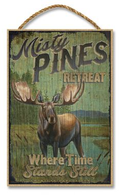Misty Pines Retreat Rustic Advertising Wooden x Sign - American Expedition Rustic Cabin Decor, Rustic Signs, Wooden Signs, Moose Decor, Bear Decor, Moose Pictures, Outdoor Pictures, Outdoor Ideas, Vintage Tin Signs