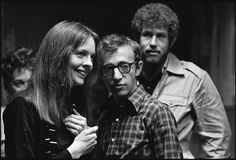 """Diane Keaton, Woody Allen and Gary Ross (?) on the set of """"Annie Hall"""""""
