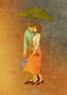 Beautiful Rain Wallpapers for Cool WhatsApp Status and Display Pictures Art And Illustration, Illustrations, Puuung Love Is, Holi, Rain Wallpapers, Couple Drawings, Korean Artist, Couple Art, Image Hd