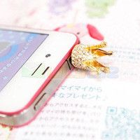 Gold Crystal Crown 3.5mm Anti Dust Earphone Jack Plug dust proof Cap for iPhone $ 1.26