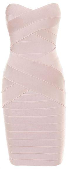 Clothing : Bandage Dresses : 'Leyla' Nude Strapless Bandage Dress