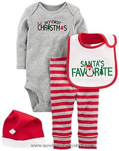 Baby Boy Clothes Simple Joys by Carter's Baby 4-Piece My First Christmas Set, Grey Santa, 3-6 Months