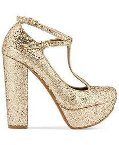 All that glitters IS gold in Shellys London platform pumps