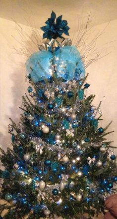 Blue and silver christmas tree