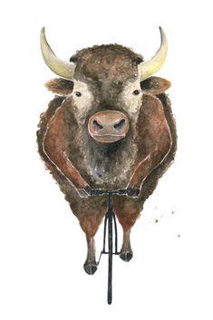 Poster / Bison / Art Print : Animal on Bike Bison, How To Draw Hands, Moose Art, Watercolor, Art Prints, Drawings, Animal Illustrations, Artwork, Animals