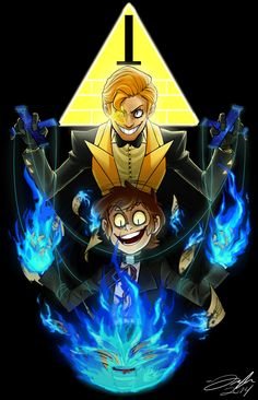 An 11x14 fan work of Boomsheika's humanized Bill Cipher and Dipper Pines from the Disney animated series Gravity Falls.