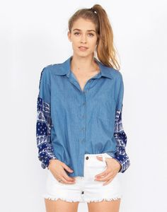 #CountryGirl Rock this chambray, bandana top in your best cowboy boots! #ootd #bandana #fashion