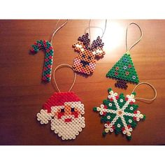 Christmas ornaments hama beads by moonbowdesign