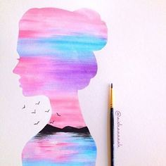 This reminds me of cotton candy .so guys my exams are done! Now I will be open for commissions and will also start selling on etsy soon! Will let you guys know more soon! Pencil Art Drawings, Cool Art Drawings, Art Drawings Sketches, Cute Canvas Paintings, Galaxy Painting, Silhouette Art, Pastel Art, Art Plastique, Disney Art