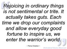 Rejoicing in ordinary things is not - Pema Chodron - Quotes and sayings