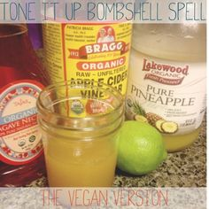 Love it! Have one every morning. Tone It Up Bombshell Spell - The Vegan Version 1 tbsp apple cider vinegar, lime juice & agave and 1/2 c pineapple juice