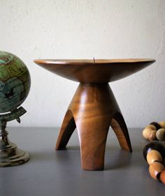 Vintage Mid Century Candleholder Tripod Wooden by susantique
