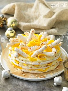 A very Australian Christmas dessert: Mango, white chocolate and coconut gateau ~ recipe Kathy Knudsen ~ pic Rob Palmer