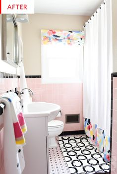 pink bathroom Budget Pink Tile Bathroom Refresh: My Apartment Therapy Featured Bathroom - How I Made a Cramped Family Bathroom Feel and Look Bigger While Adding Storage and Function T. MOORE HOME Black Tile Bathrooms, Pink Bathroom Tiles, Pink Tiles, Old Bathrooms, Cheap Bathrooms, Simple Bathroom, Yellow Tile, Bathroom Colors, White Bathroom