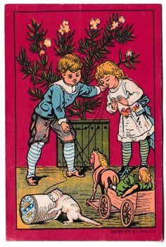 Clark's O.N.T. Spool Cotton Thread Antique Ad 1878 Calendar L. Prang & Co. ONT