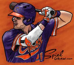 b397fa9ce Digital painting of Clemson right fielder Seth Beer. Created with paper