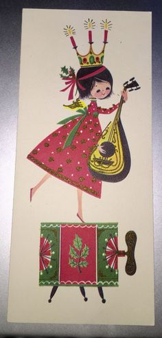 """Vintage """"Musical Miss"""" Christmas card 1960s with wind-up drum + mandolin from gypsy18"""