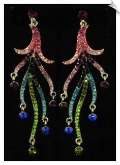 Silvertone Dangle Clip On Earrings Accented with Multi Colored Rhinestones $38 @ www.whimzgirlclipearrings.com