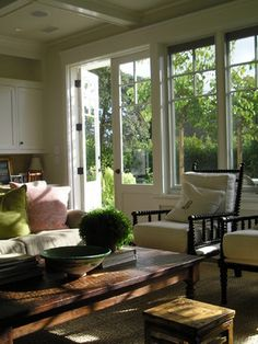 Traditional Living Room Country French Design, Pictures, Remodel, Decor and Ideas - page 6 Casual Living Rooms, Living Spaces, Living Area, White Window Trim, Room Additions, Deco Design, Spa Design, Garden Design, Living Room Chairs