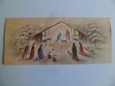 Vintage Christmas Greeting Card~Nativity Shepherds Scene Embossed Gold Accents