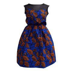 Iwa Sheer Top African Print Dress (Blue/Orange)