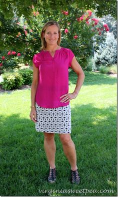 Loving this pink and black combo on Paula of Virginia Sweet Pea. She does an awesome job combining that killer patterned skirt with a pop of color on top!