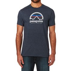 Patagonia Arched Logo T-shirt - Navy Blue