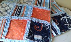 Baby Rag Quilt Boy Anchors Away Nautical  Plush Minky Blanket