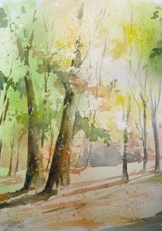 40 Easy Watercolor Landscape Painting Ideas for Beginners - FeminaTalk Watercolor Landscape Paintings, Watercolor Trees, Easy Watercolor, Watercolor Paper, Lighthouse Painting, Beginner Painting, Watercolor Techniques, Painting Inspiration, Painting & Drawing