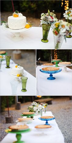 dessert table with pretty colored pedestals and colored glass vases