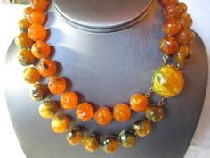 FAUX-AMBER-LUCITE-DOUBLE-STRAND-BEADED-NECKLACE-BROWNS-ORANGE-MARBLED-1960S