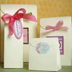 Gift favor ideas.  Stickers,bag,bow,tag