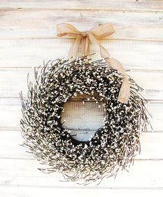 BURLAP & ANTIQUE WHITE Scented Wreath- Rustic Christmas Wreath-Winter Door Wreath-Scented Vanilla Sugar-Custom Choose Scent and Ribbon. $65.00, via Etsy.