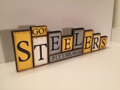 Steelers Sign Word Blocks Pittsburgh Wooden by GuidingPrintables