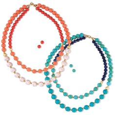 Brighten up your day! Beaded double strand two-tone necklace with goldtone accents. Your choice of coral or turquoise. Regularly $19.99, shop Avon Jewelry online at http://eseagren.avonrepresentative.com