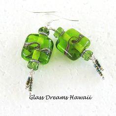 Apple Green Glass Earrings - Lampwork Glass Dangle Earrings - Hawaii Handmade - Artisan Bead Jewelry - Stunning Drop Earrings (35.00 USD) by GlassDreamsHawaii
