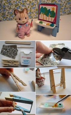 Calico Critter Play Room - craft and dolls and miniatures - miniature art easel (DIY) for Calico Critters - Diy Dollhouse, Dollhouse Miniatures, Doll Crafts, Fun Crafts, Diy For Kids, Crafts For Kids, Calico Critters Families, Diy Easel, Miniature Crafts