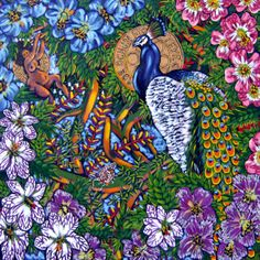 "paintings of lili bernard | Ochun Sees Birth, Oil on Canvas, 48""x48"" © 2007 by Lili Bernard"