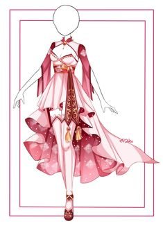 Dress Design Sketches, Fashion Design Drawings, Drawing Anime Clothes, Dress Drawing, Anime Outfits, Girl Outfits, Fashion Outfits, Vestidos Anime, Pretty Outfits