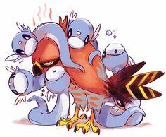 Talonflame hatching Dratinis... LOL, wonder if mine ever felt like this! XD