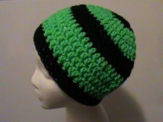Check out this item in my Etsy shop https://www.etsy.com/listing/163273027/green-and-black-striped-crochet-beanie