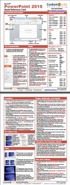 Free PowerPoint 2010 Quick Reference Card. http://www.customguide.com/cheat_sheets/powerpoint-2010-cheat-sheet.pdf