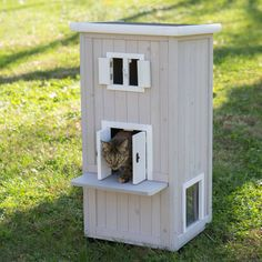 Boomer & George Nantucket Outdoor Cat Home - Indoors or outdoors, your feline will have a safe and secure three-level shelter in which to relax with the Boomer & George Nantucket Outdoor Cat ...