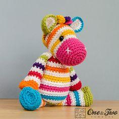 Rainbow zebra amigurumi crochet pattern by One and Two Company