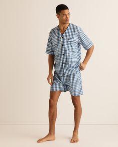 Night Dress For Man, Mens Summer Pajamas, Color Celeste, Pajama Pattern, Pyjamas, Nightwear, Patterned Shorts, Men Dress, Men Casual