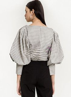 Shop Vintage Square Sleeve Plaid Puff Sleeve Blouse at EZPOPSY. Sleeve Designs, Blouse Designs, Stylish Dresses For Girls, Korean Girl Fashion, Blouse Vintage, Streetwear Fashion, Tartan, Blouses For Women, Fashion Outfits