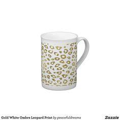 Gold White Ombre Leopard Print Tea Cup