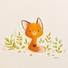 Little fox and girl on Behance Cute Animal Drawings, Kawaii Drawings, Easy Drawings, Fuchs Illustration, Cute Illustration, Cartoon Illustrations, Fox Drawing Easy, Fox Painting, Watercolor Fox
